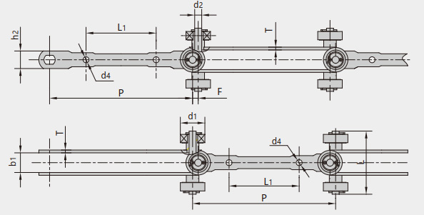 Double hinged conveyor chains