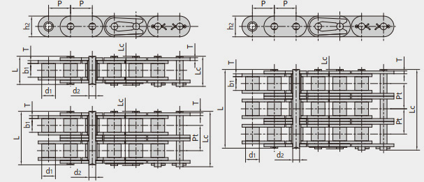 Conveying roller chains