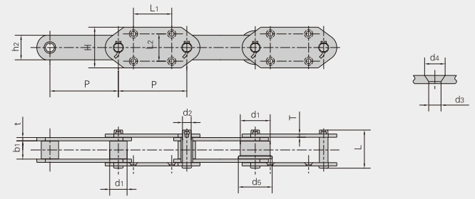 Conveying chain for cement industry
