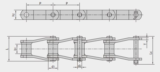 Welded-steel-type mill chains